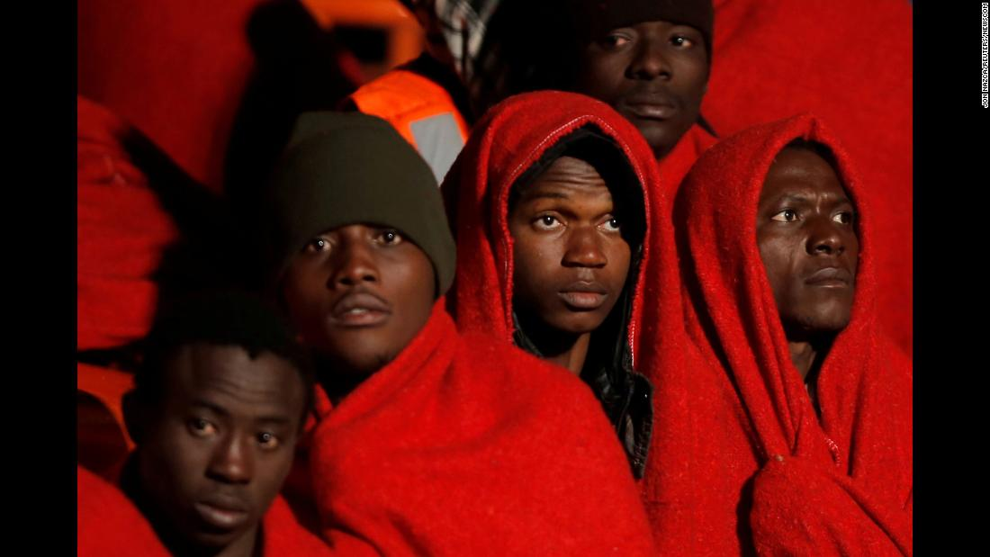 Migrants intercepted in the Mediterranean Sea arrive in Malaga, Spain in a rescue boat on December 25.