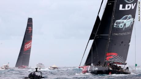 LDV Comanche, right, trails Wild Oats XI as they enter open water during the start of the Sydney Hobart yacht race in Sydney, Tuesday, Dec. 26, 2017. The 630-nautical mile race has 102 yachts starting in the race to the island state of Tasmania. (AP Photo/Rick Rycroft)