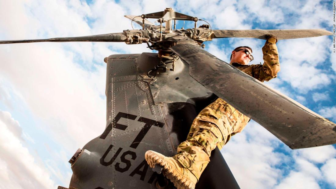 A special missions aviator assigned to the 46th Expeditionary Rescue Squadron inspects the blades on an HH-60G Pave Hawk helicopter tail rotor prior to a sortie on November 22, in an undisclosed location.