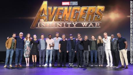 The all-star cast: Sebastian Stan, Dave Bautista, Karen Gillan, Pom Klementieff, Benedict Cumberbatch, Chadwick Boseman, Josh Brolin, and Chris Hemsworth, producer Kevin Feige, Robert Downey Jr., Mark Ruffalo, Tom Holland, Elizabeth Olsen, Paul Bettany, Don Cheadle, and Anthony Mackie