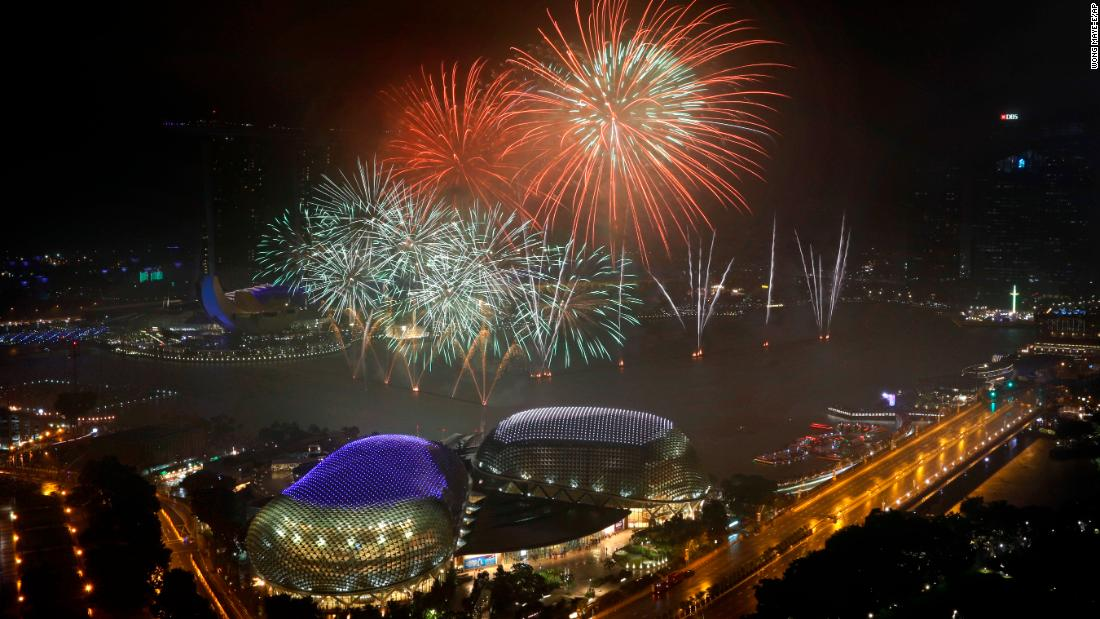 Celebrations take place in Singapore's financial district.