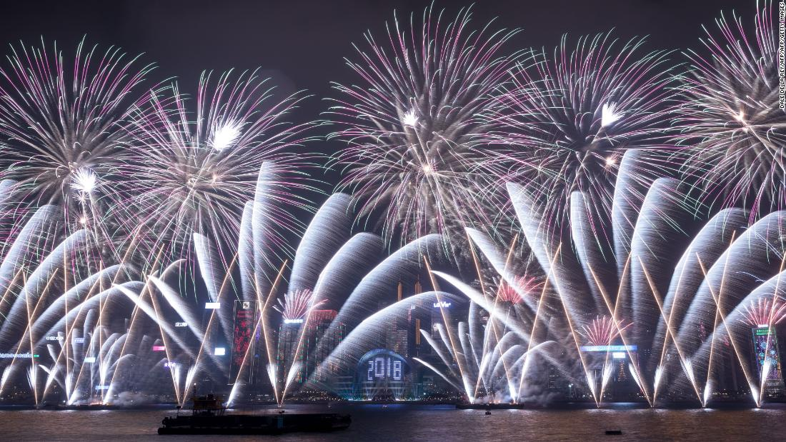 Fireworks explode over Victoria Harbour during New Year celebrations in Hong Kong.