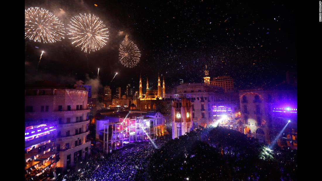 Fireworks explode over downtown Beirut, Lebanon.