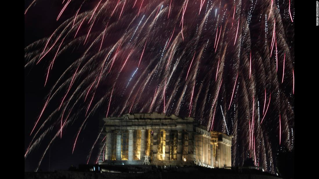 The Parthenon temple is seen during New Year's celebrations in Athens, Greece.