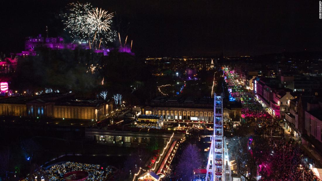 New Year's celebrations take place in Edinburgh, Scotland.