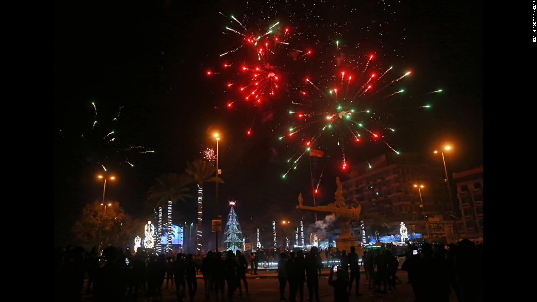 Fireworks illuminate the sky in Baghdad, Iraq.