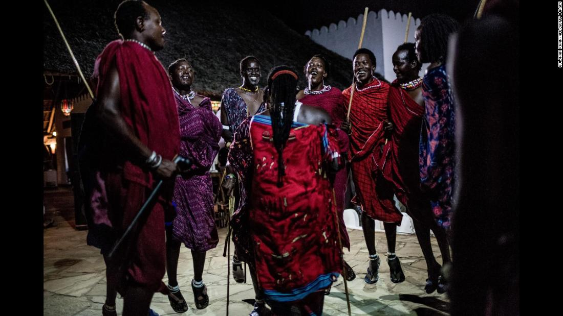 Maasai tribe members perform a traditional dance on Nungwi Beach in Zanzibar, Tanzania.