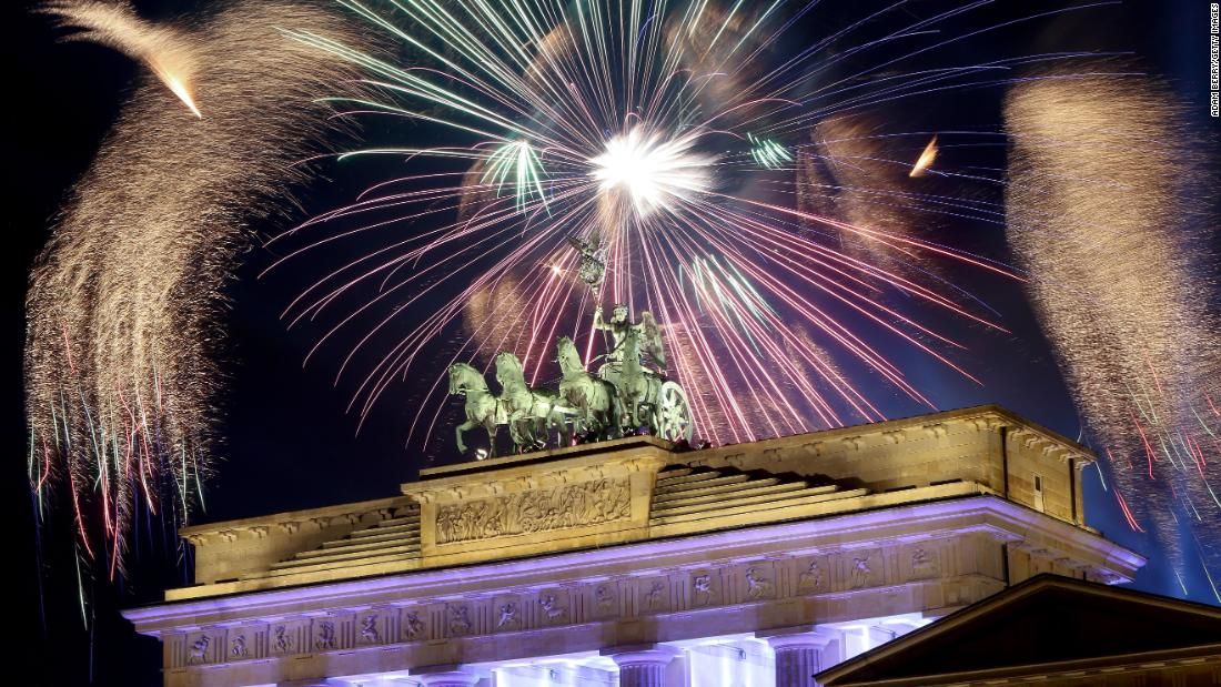 Festivities take place by the Brandenburg Gate in Berlin.