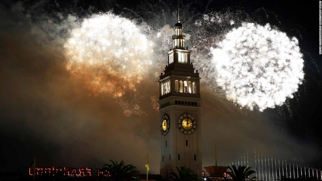 Fireworks illuminate the sky during New Year's celebrations in San Francisco on January 1.