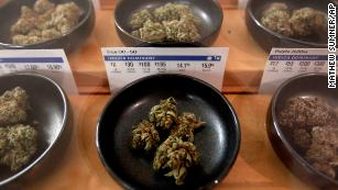 Different types of marijuana sit on display at Harborside dispensary.