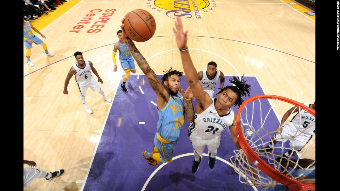 Brandon Ingram, a forward for the Los Angeles Lakers, dunks the ball during an NBA game against Memphis on Wednesday, December 27.
