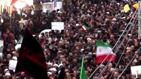 "An image grab taken from a broadcast by Islamic Republic of Iran Broadcasting (IRIB) on January 1, 2018, shows Iranians chanting slogans as they march in support of the government in the northwestern city of Zanjan. / AFP PHOTO / Handout / RESTRICTED TO EDITORIAL USE - MANDATORY CREDIT ""AFP PHOTO / HO / IRIB"" - NO MARKETING NO ADVERTISING CAMPAIGNS - DISTRIBUTED AS A SERVICE TO CLIENTS  NO RESALE - NO BBC PERSIAN / NO VOA PERSIAN / NO MANOTO TVHANDOUT/AFP/Getty Images"