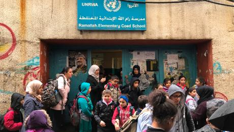 Palestinian children head out of UN-run Ramallah Elementary School in Beirut's Shatila refugee camp.
