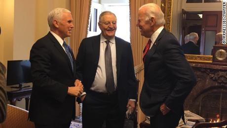 Vice President Mike Pence meets with former vice presidents Walter Mondale and Joe Biden on Wednesday.