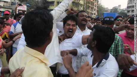 Protests breakout in the Thane region of Maharashtra near Mumbai.