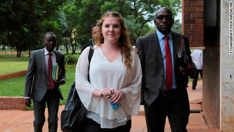 Martha O'Donovan appears Thursday at Harare Magistrates' Court accompanied by her lawyers.