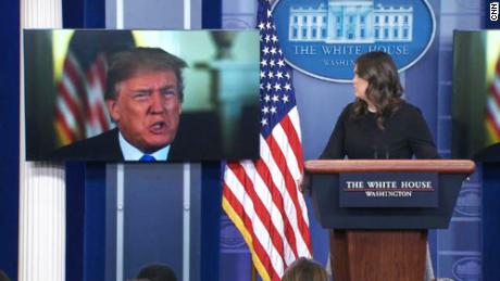 Beam Trump up! President is compared to Wizard of Oz after crashing briefing. Jeanne Moos reports.    Beam Trump Up    Doing a little mini piece on the oddball appearance by President trump via video screen at the press briefing. They obviously didn't want to expose him to questions so they beamed him in (actually a pre tape) ao he could talk about positive news resulting from the tax cuts. As one reporter commented, he was only 200 feet away in the Oval Office. Will show a couple of the sticky questions he avoided by not being there in person. And we're taking a Star Trek clip and replacing Spock by beaming up President Trump. Plus we include Wizard of Oz comparisons in tweets pegged to which we get to play movie clips of the Wizard being exposed behind his curtain by Toto the dog.
