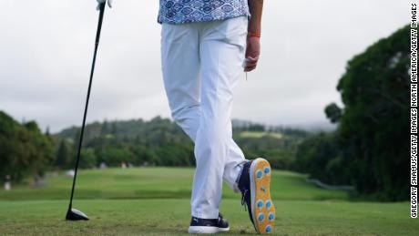 LAHAINA, HI - JANUARY 04:  A detail of Rickie Fowler of the United States on the 16th tee during the first round of the Sentry Tournament of Champions at Plantation Course at Kapalua Golf Club on January 4, 2018 in Lahaina, Hawaii.  (Photo by Gregory Shamus/Getty Images)