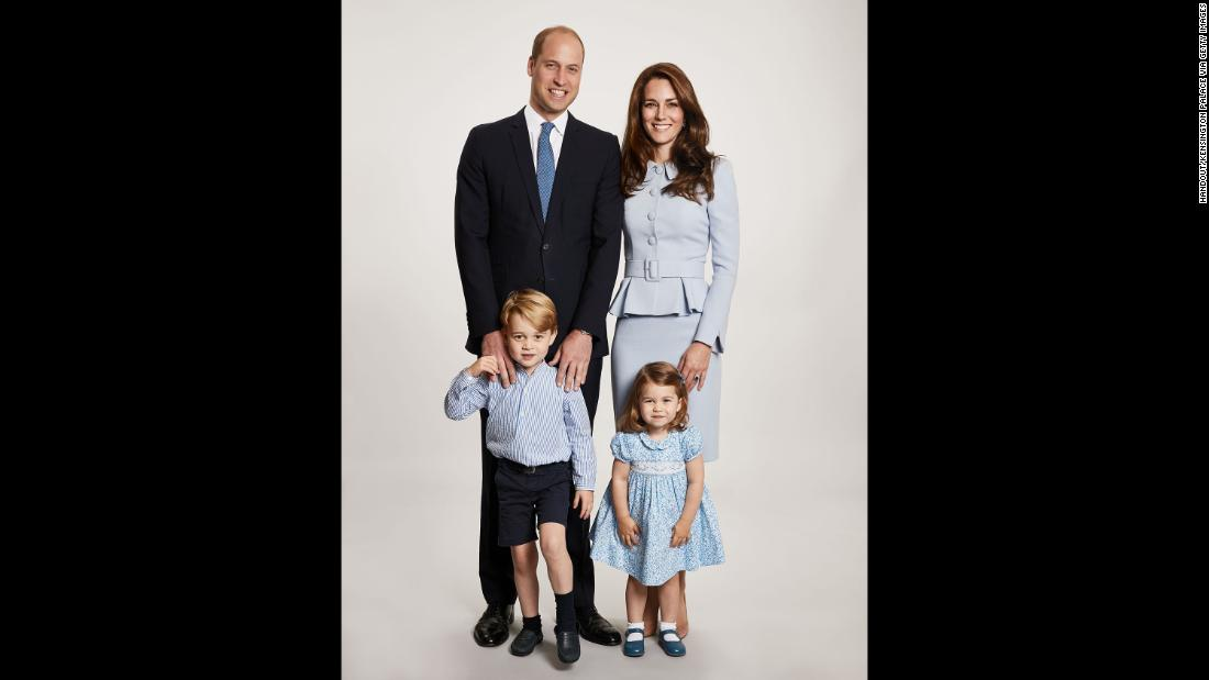 The image used for the Duke and Duchess of Cambridge's 2017 Christmas card shows the royal couple with their children, Prince George and Princess Charlotte. It was issued by Kensington Palace on December 18, 2017, in London.