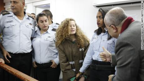 Ahed Tamimi appears at a military court at the Israeli-run Ofer prison in the West Bank on December 28.