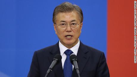 SEOUL, SOUTH KOREA - MAY 10:  South Korea's new President Moon Jae-In speaks during his presidential inauguration ceremony at National Assembly on May 10, 2017 in Seoul, South Korea. Moon Jae-in of Democratic Party, was elected as the new president of South Korea in the election held on May 9, 2017.  (Photo by Chung Sung-Jun/Getty Images)