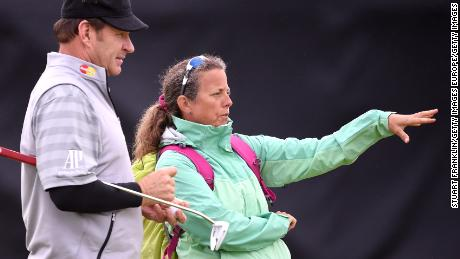 ST ANDREWS, SCOTLAND - JULY 13:  Sir Nick Faldo talks with former caddie Fanny Sunesson as he plays a practice round ahead of the 144th Open Championship at The Old Course on July 13, 2015 in St Andrews, Scotland.  (Photo by Stuart Franklin/Getty Images)