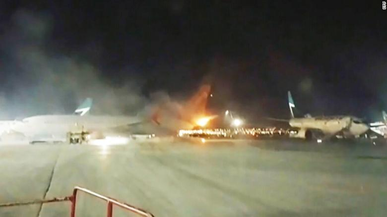 Plane collision on ground results in fire