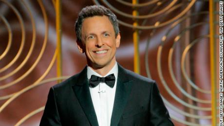 Seth Meyers landed laughs as host of the Golden Globe Awards.
