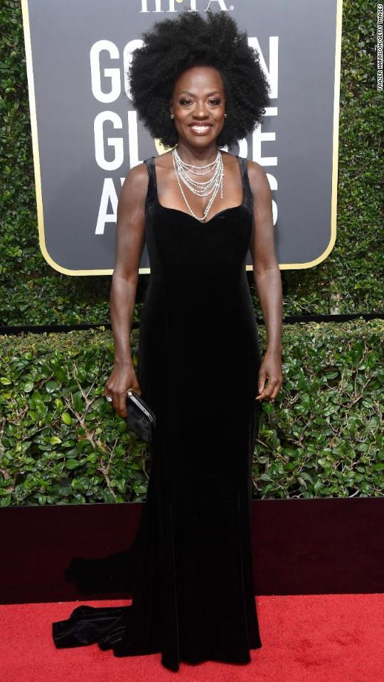 "Viola Davis attends the 75th annual Golden Globe Awards on Sunday, January 7. Many celebrities <a href=""http://www.cnn.com/2018/01/05/entertainment/golden-globes-2018-black-dress-explainer/index.html"" target=""_blank"">were wearing black</a> on the red carpet to raise awareness of gender and racial inequality."