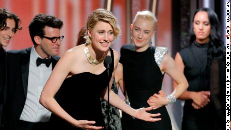 Greta Gerwig accepts the award for best picture -- comedy or musical for 'Lady Bird'