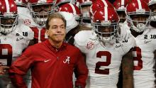 Alabama head coach Nick Saban leads his team on the field before the NCAA college football playoff championship game against Georgia Monday, Jan. 8, 2018, in Atlanta. (AP Photo/David Goldman)