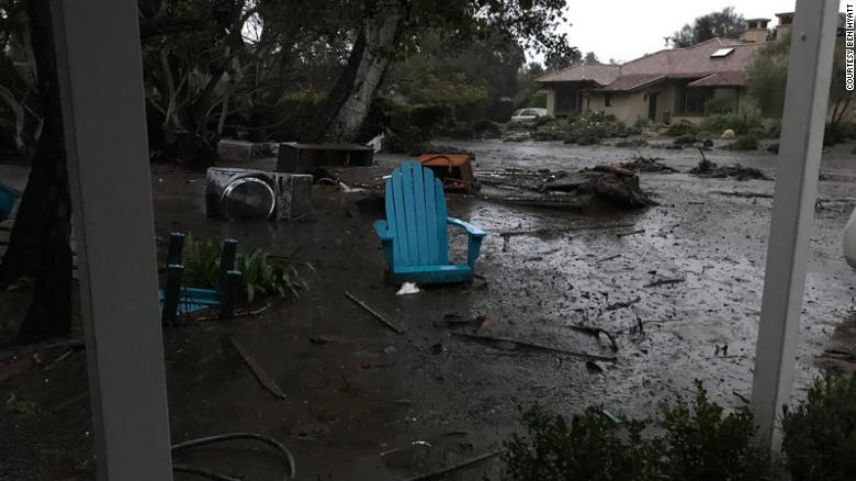 Debris litters the area near Hyatt's home Tuesday in Montecito in Santa Barbara County.