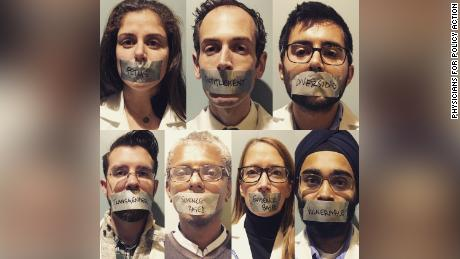 Physicians for Policy Action responded to reports of censorship by covering physicians' mouths with duct tape emblazoned with seven reportedly banned words.