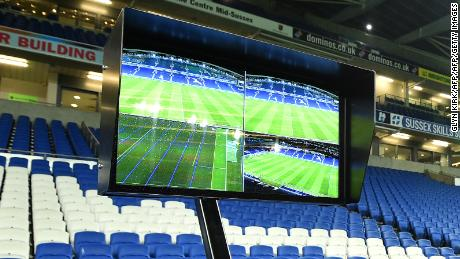 The Video Assistant Referee (VAR) system pitchside during the FA Cup clash between Brighton and Crystal Palace.