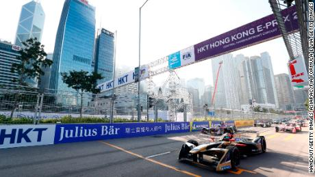HONG KONG, HONG KONG - DECEMBER 02: In this handout from FIA Formula E -  2017/2018 FIA Formula E ChampionshipRound 1 - Hong Kong, ChinaSaturday 02 December 2017.Jean Eric Vergne (FRA), TECHEETAH, Renault Z.E. 17, on Pole Position during the Hong Kong ePrix, Round 1 of the 2017/18 FIA Formula E Series at the Central Harbourfront Circuit on December 02, 2017 in Hong Kong, Hong Kong. (Photo by Sam Bloxham/LAT Images/FIA Formula E Series via Getty Images)