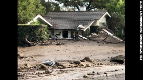 A house in Montecito, California, submerged by a mudslide in January.