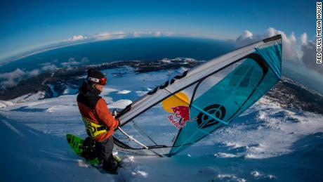 Levi Siver swaps mountainous waves for actual mountains on his windsurfer.