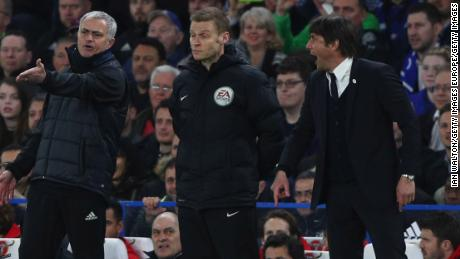 Fourth official Mike Jones intervenes as Mourinho and Conte clash during FA Cup quarterfinal match between Chelsea and  United.