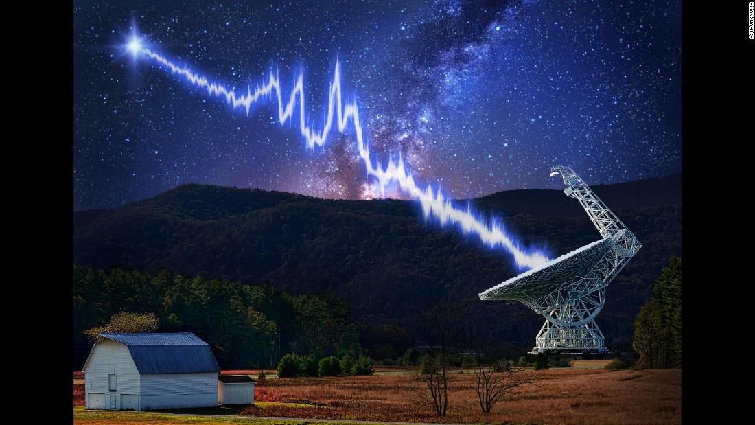 An illustration depicts the detection of a repeating fast radio burst from a mysterious source 3 billion light-years from Earth.