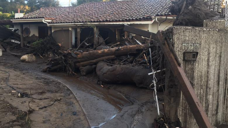 Debris surrounds a house Wednesday in Montecito, California.