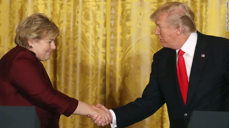 US President Donald Trump meets Norway's Prime Minister Erna Solberg at the White House on Wednesday.