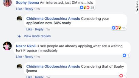 Sophy Ijeoma's reply to Chidimma Amedu's post
