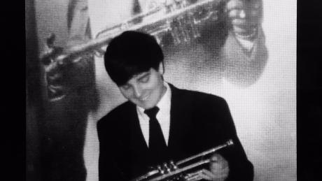 John Michael Bradford with his first trumpet