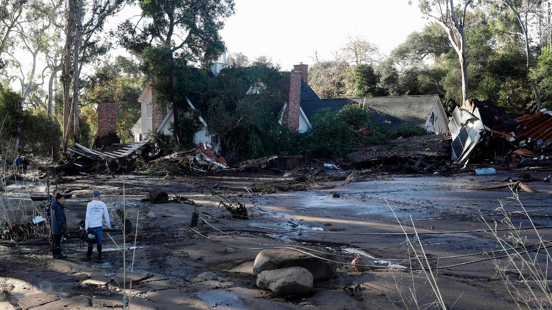 A damaged home is seen in Montecito on January 10.