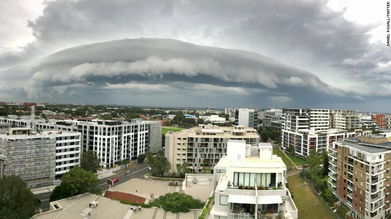 A massive shelf cloud loomed over Sydney on January 9, 2018.