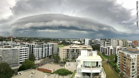 A massive shelf cloud loomed over Sydney on Tuesday, January 9, 2018.