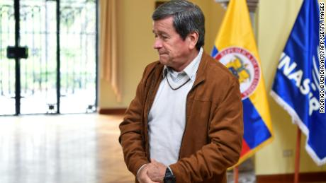 "The chief negotiator of the ELN guerrilla in the talks with the Colombian government, Pablo Beltran, is pictured after reading a statement calling the government of President Juan Manuel Santos to reconsider its withdrawal from peace negotiations, insisting they wanted to talks to continue, at Hacienda Cashapamba in Sangolqui, Ecuador, on January 10, 2018. Santos announced earlier that he was withdrawing the government delegation from the talks in neighbouring Ecuador because fresh rebel attacks followed the end of a 101-day ceasefire at midnight. ""We want conversations to be maintained, and that no incidents lead to them being interrupted, and we call on them to reconsider their withdrawal from the table,"" rebel commander Beltran said.  / AFP PHOTO / Rodrigo BUENDIA        (Photo credit should read RODRIGO BUENDIA/AFP/Getty Images)"