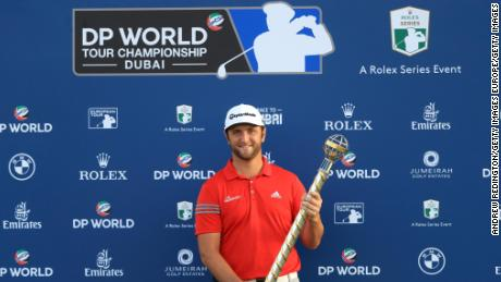 DUBAI, UNITED ARAB EMIRATES - NOVEMBER 19:  Jon Rahm of Spain poses with the trophy following his victory during the final round of the DP World Tour Championship at Jumeirah Golf Estates on November 19, 2017 in Dubai, United Arab Emirates.  (Photo by Andrew Redington/Getty Images)