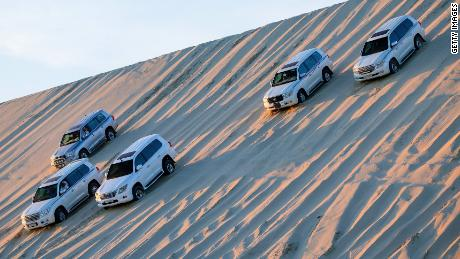 DOHA, QATAR - JANUARY 23:  Cars seen during the Germany Qatar Desert Tour on January 23, 2015 in Doha, Qatar.  (Photo by Pool/Getty Images)