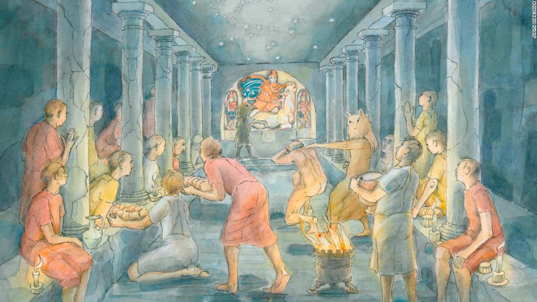 The cult of Mithras is shrouded in mystery. It was all male, made up from the Roman army, merchants and civil servants. While no one really knows what went on in the temples, it is believed there was feasting, drinking, initiation rituals and animal sacrifices.
